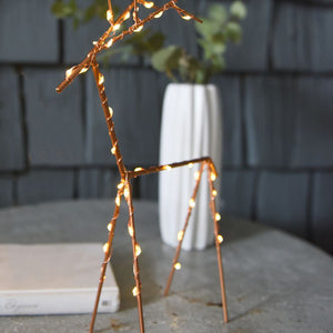 LED copper table light up reindeer - available to buy online from official UK online retailer and approved stockist Vintage Attic Sevenoaks, Kent