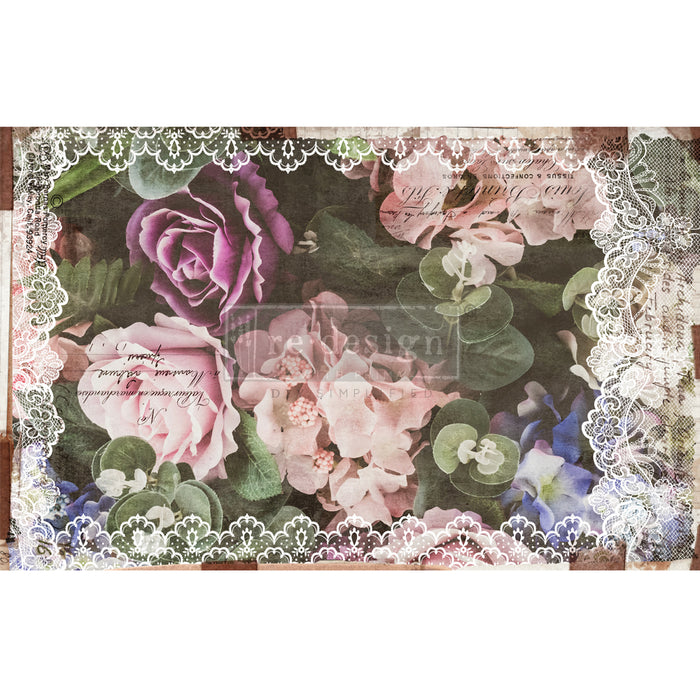 "'Dark Lace Floral' Decoupage Tissue Paper | Redesign With Prima | 19"" X 30"""