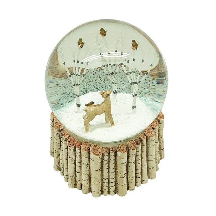 Deer Trees & Birds Snow Globe Birch Effect Base