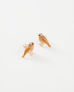 Fable - Jewellery - Enamelled Robin - Stud Earrings