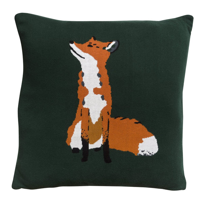 Foxes Knitted Cushion - Green - Sophie Allport
