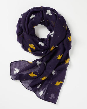 Fable - Scarf - Squirrel Silhouette - Navy