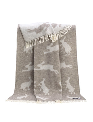 Hare Wool Throw / Blanket, Brown / Beige available from official UK online retailer and approved stockist, Vintage Attic Sevenoaks, Kent