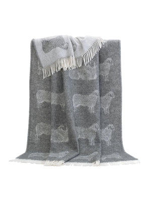 Sheep Wool Throw / Blanket, grey, available from official UK online retailer and approved stockist, Vintage Attic Sevenoaks, Kent