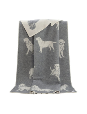 Labrador  Wool Throw / Blanket, grey available from official UK online retailer and approved stockist, Vintage Attic Sevenoaks, Kent