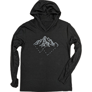 Tri Mountains Unisex Long Sleeve Hoodie Tee - Contour Creative