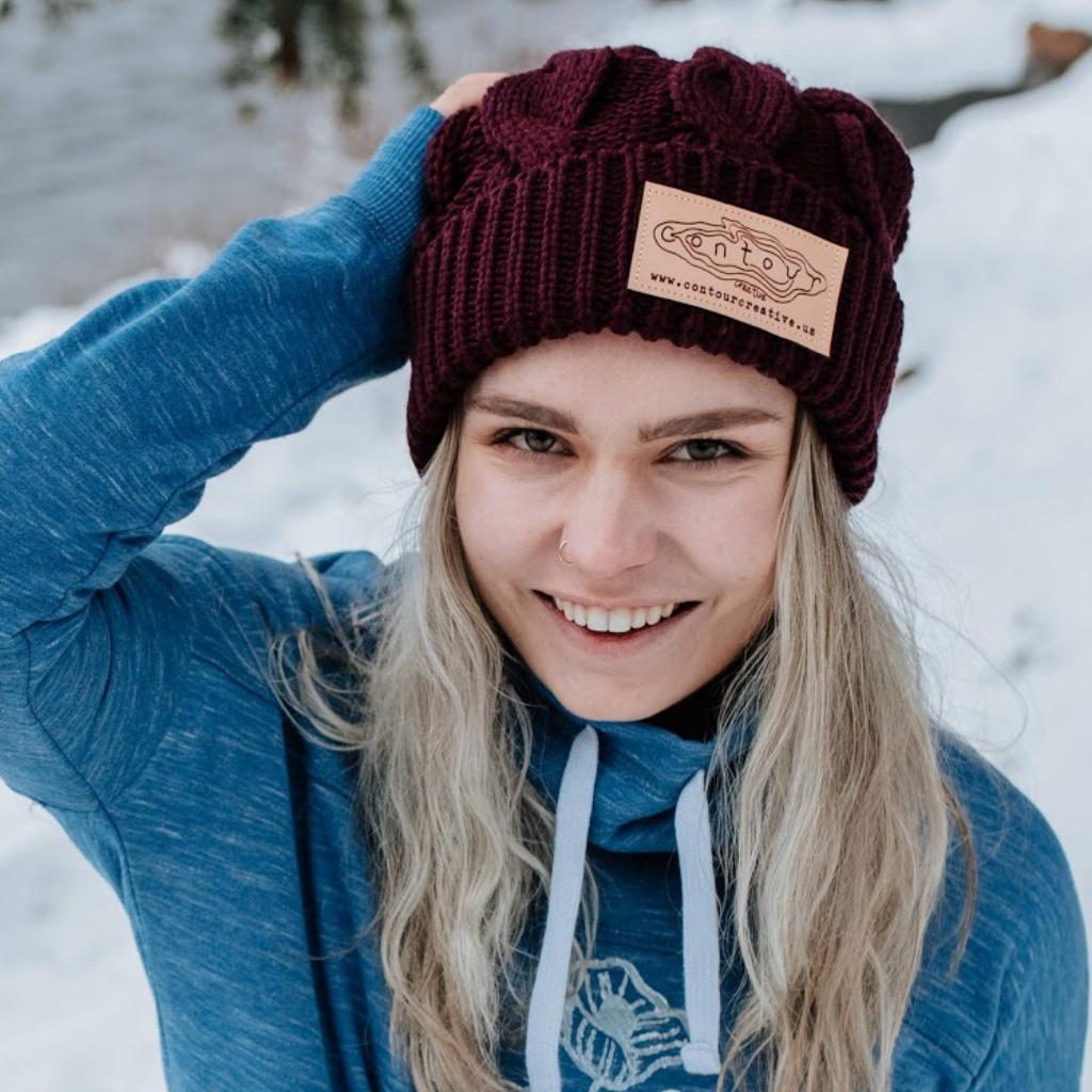 Cable Knit Maroon Pom Beanie - Contour Creative