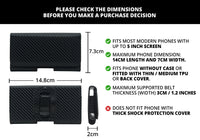 Phone Belt Holder Pouch With Magnetic Lock For 4 inch to 5 inch Phones (Carbon Fiber Black)