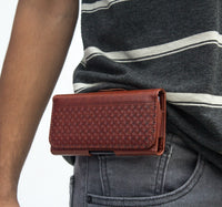 Phone Belt Holder Pouch with Magnetic Lock for 4 inch to 5 inch Phones (Walnut Brown)
