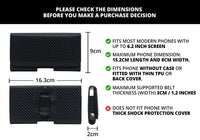 Phone Belt Holder Pouch with Magnetic Lock For 5.2 inch to 6.2 inch Phones (Carbon Fiber Black)