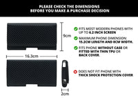 Phone Sleeve Pouch with Magnetic Lock for 5.2 Inch to 6.2 Inch Phones (Carbon Fiber Black)