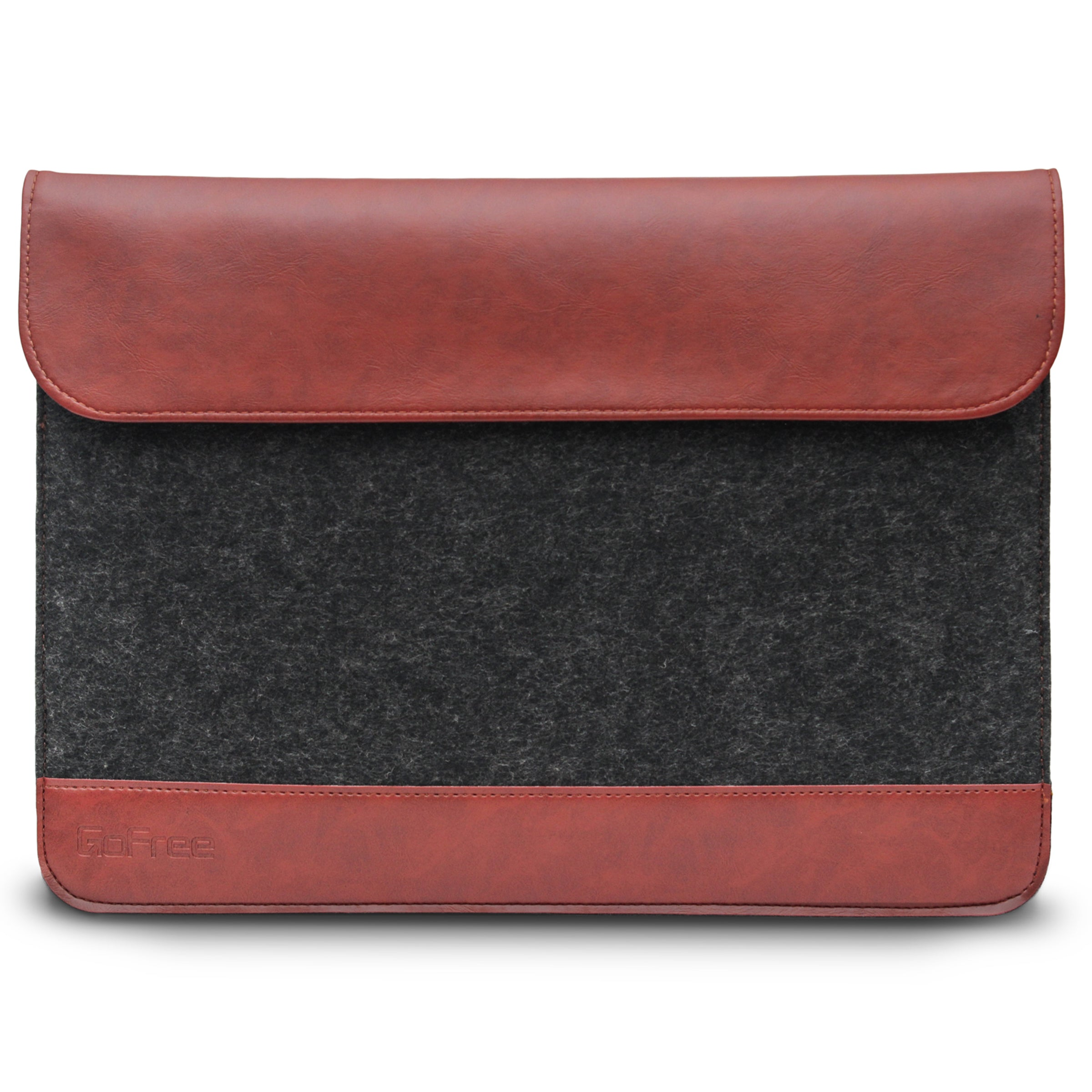 GoFree Felt Sleeve Case for iPad Mini (All Generations) / 8 & 7 inch Tablets  (Charcoal Grey / Caramel Brown)