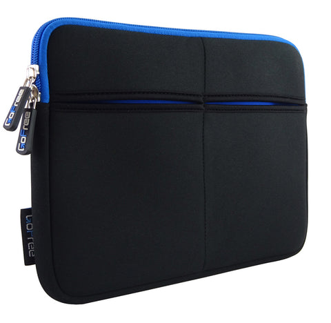GoFree Slim Line Tablet Sleeve - Super Compact & Uber Stylish -  Black w/ Azure Blue Accents