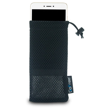 GoFree Nylon Mesh Mobile Phone Pouch with Spring Lock – For 5.5 inch Phones - (Midnight Black)
