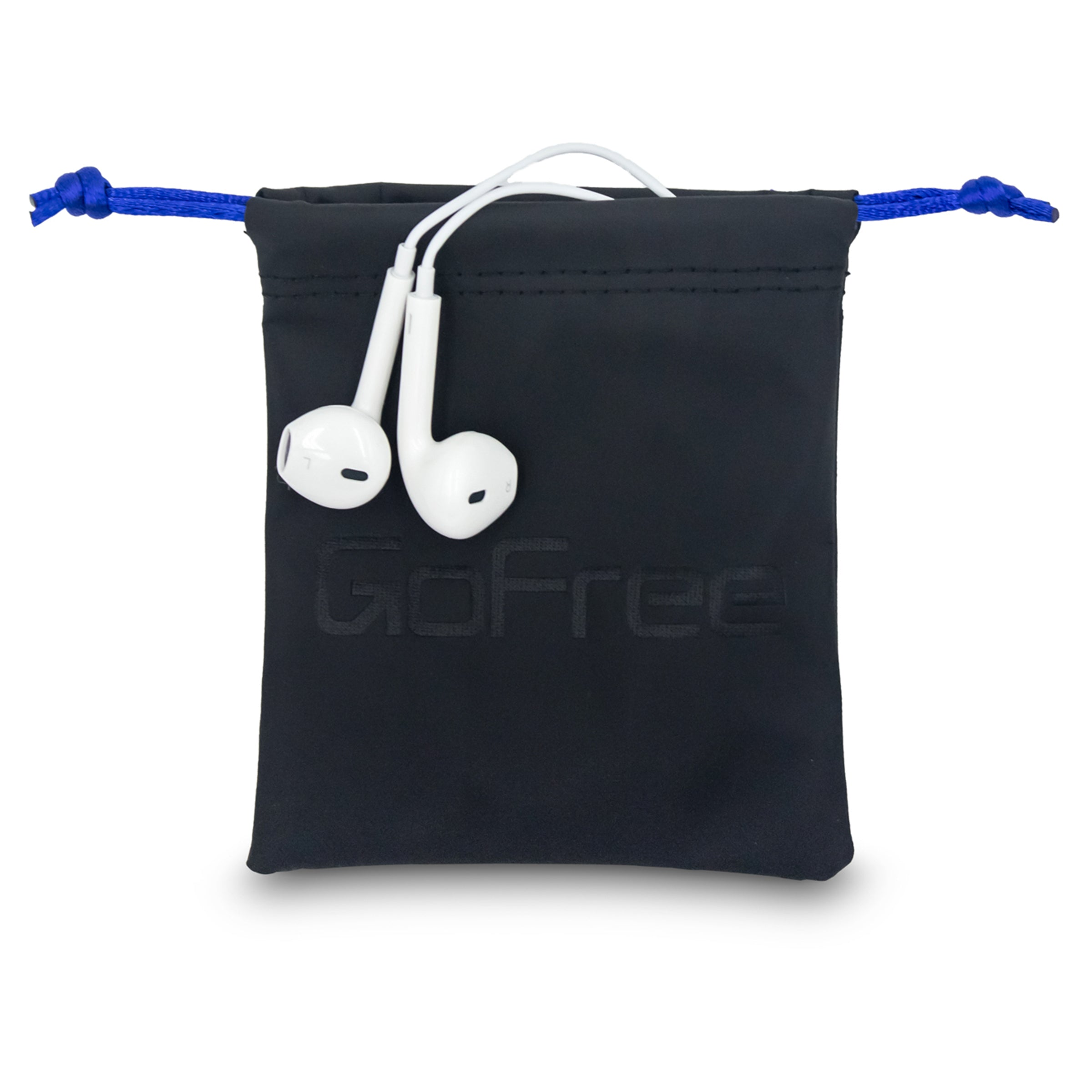 GoFree Drawstring Protection Pouch Bag for Earphones, Pen Drives, SD cards (Midnight Black)