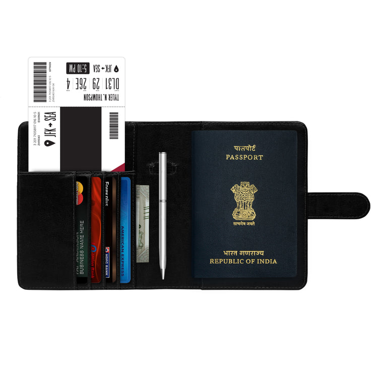 GoFree Passport Holder Sleeve - Stores Passports, Cards, Cash & Boarding Pass / Bills - Ultra Compact Passport Wallet Pouch