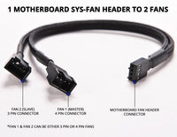 GoFree PC PWM Fan Splitter Y Cable 1 to 2 [1 Motherboard Fan Header To 2 Fans] [Nylon Braided] (27cm / 1 to 2)
