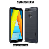 Ceego Carbon Fiber Shield Back Case for Honor 7A  – Midnight Blue
