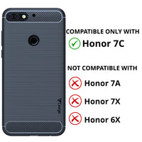 Ceego Carbon Fiber Shield Back Case for Honor 7C  – Midnight Blue