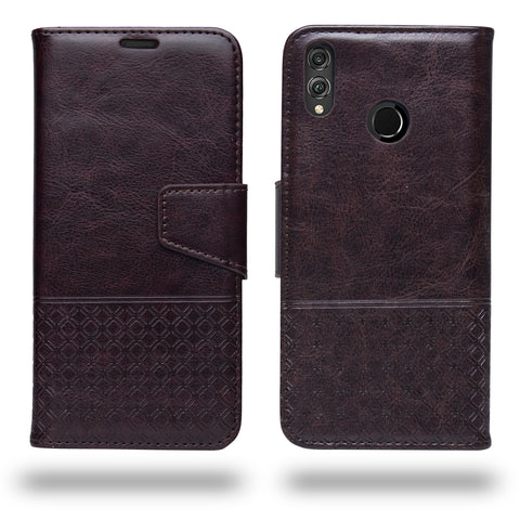 Ceego Luxuria Compact Wallet Flip Cover for Honor 8X (Chestnut Brown)