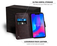Ceego Luxuria Compact Wallet Flip Cover for Huawei Nova 3 (Chestnut Brown)