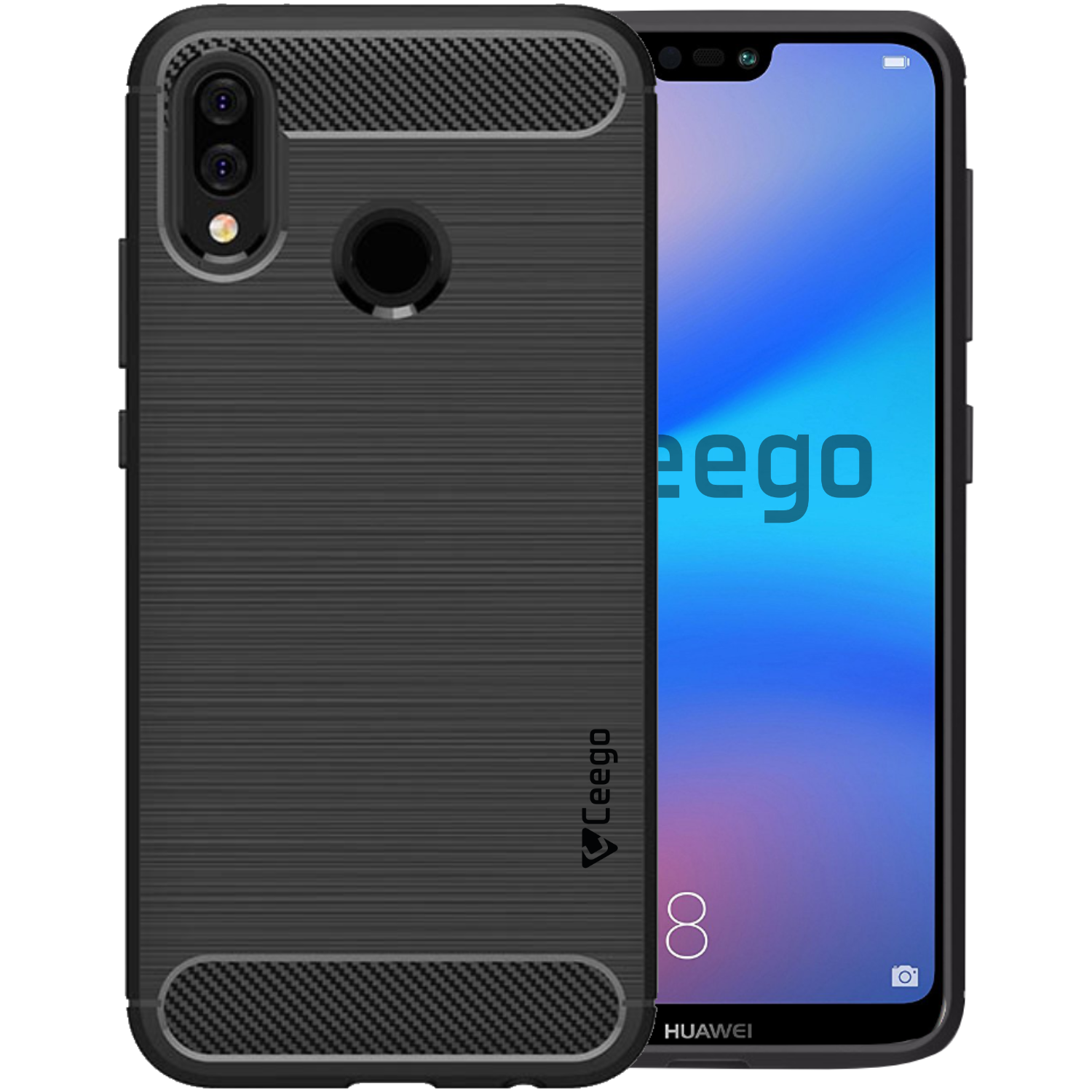 Ceego Carbon Fiber Shield Back Case for Huawei P20 lite  – Matte Black