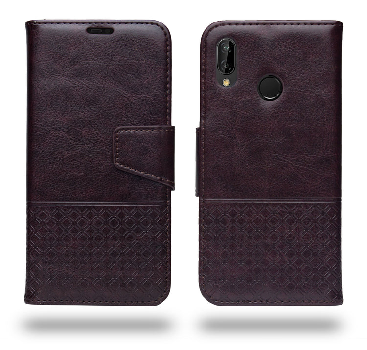 Ceego Luxuria Flip Cover for Huawei P20 lite  - Chestnut Brown