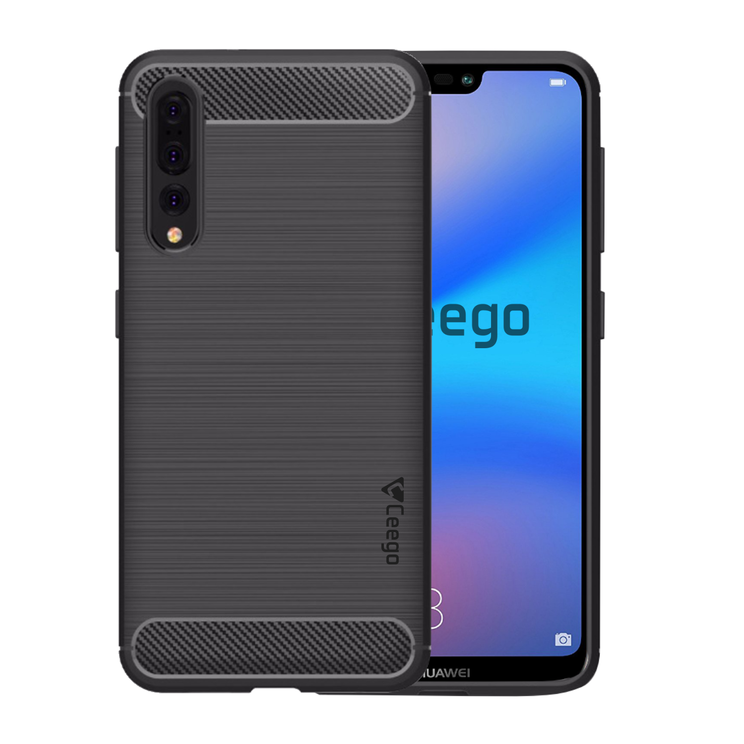 Ceego Carbon Fiber Shield Back Case for Huawei P20 Pro  – Matte Black