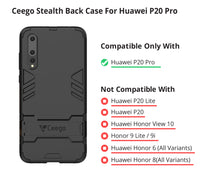 Ceego Stealth Defence Back Case for Huawei P20 Pro  – Matte Black