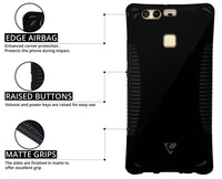 FlexiGel Edge Cushion Airbag Protection Back Cover for Huawei P9 - Hyper Black