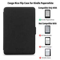 Ceego Rico Series Flip Cover for Kindle PaperWhite (Elephant Black)