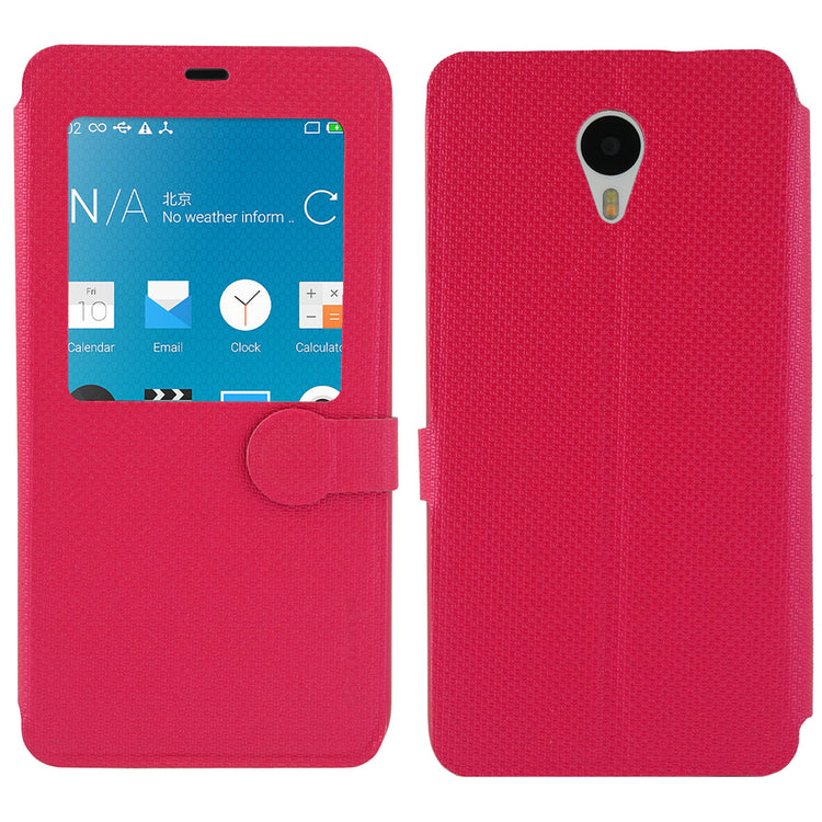 iMaterial Flip Cover (With Notification Window) for Meizu m1 note - Cherry Red