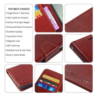 Ceego Luxuria Wallet Flip Cover for Huawei Honor 3 - Walnut Brown