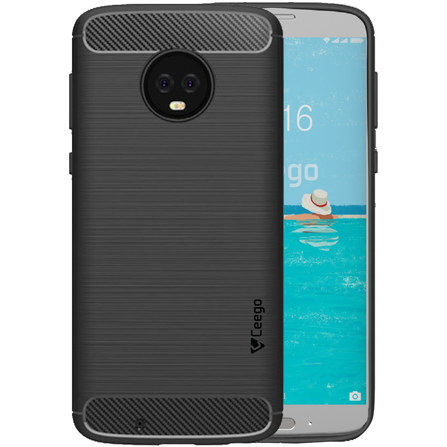 Ceego Carbon Fiber Shield Back Case for Motorola Moto G6  – Matte Black