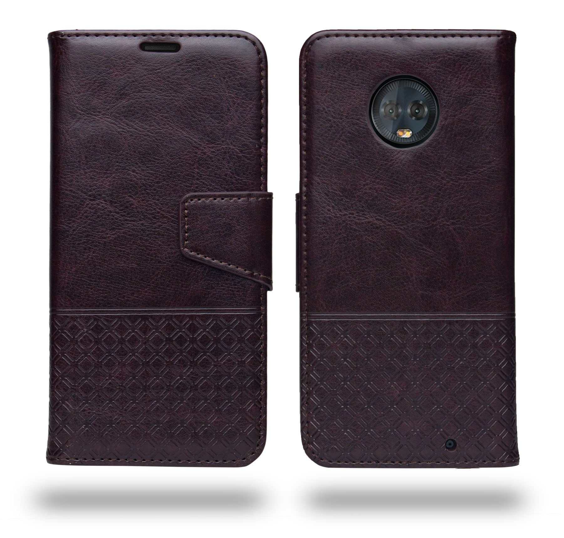 Ceego Luxuria Wallet Flip Cover for Motorola Moto G6 Plus (Walnut brown)