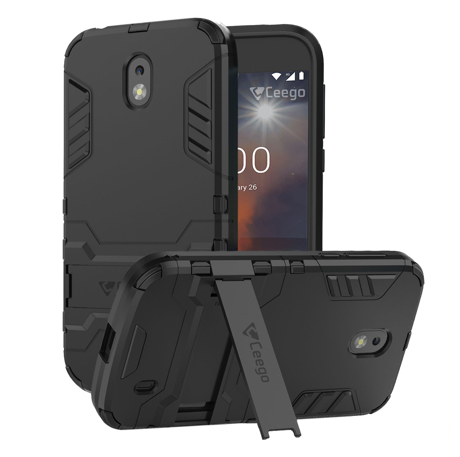 Ceego Stealth Defence Back Case for Nokia 1  – Matte Black