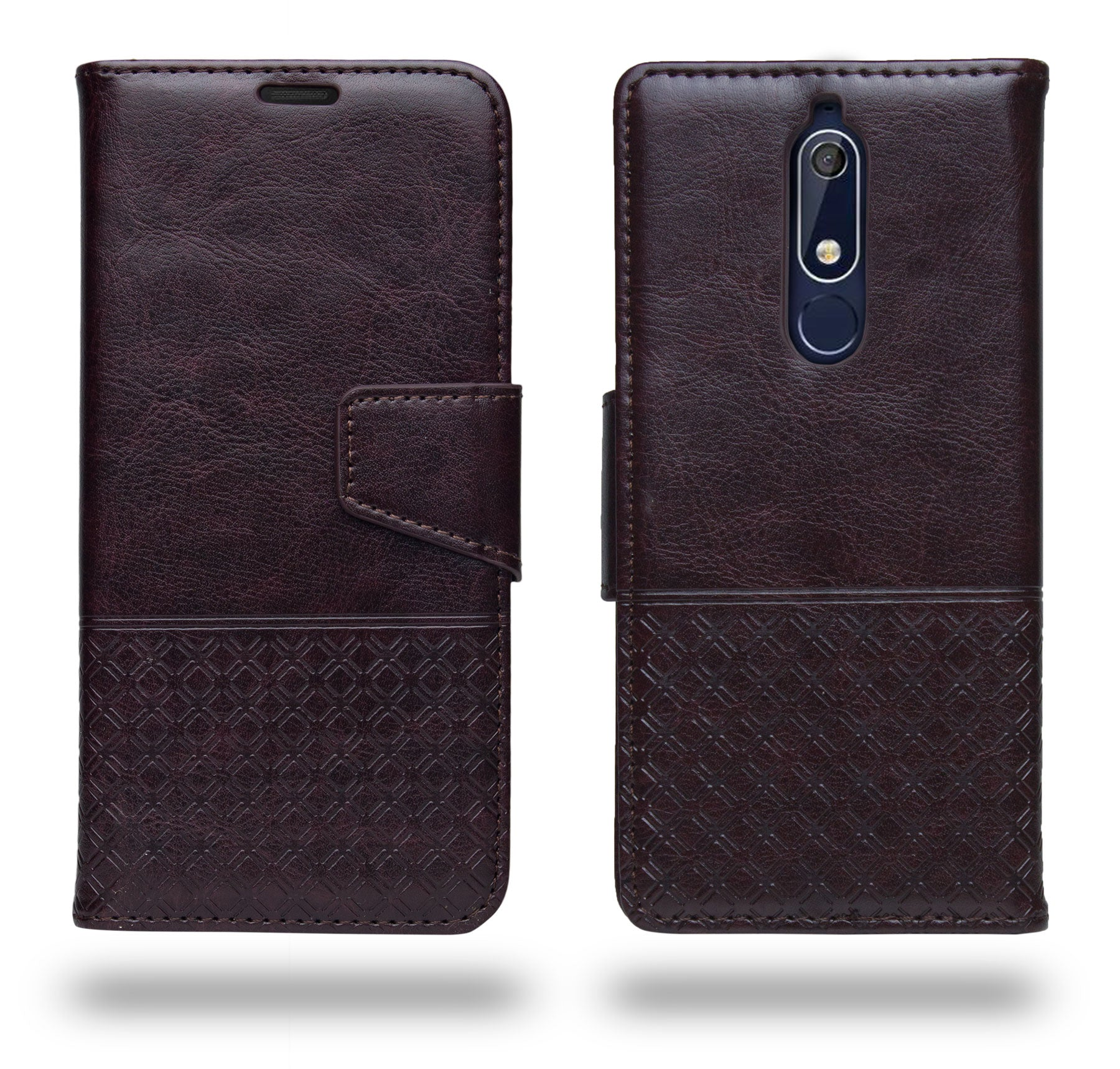 Ceego Luxuria Flip Cover for Nokia 5.1 - Chestnut Brown