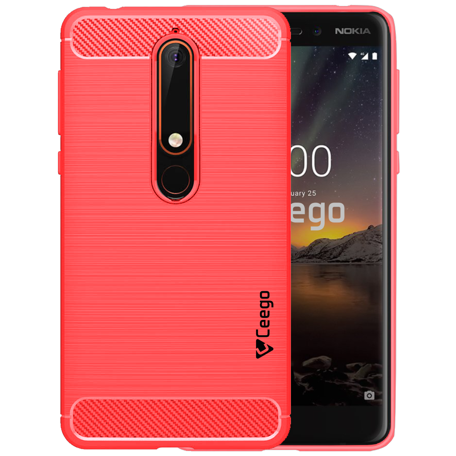 Ceego Carbon Fiber Shield Back Case for Nokia 6.1  – Flaming Red