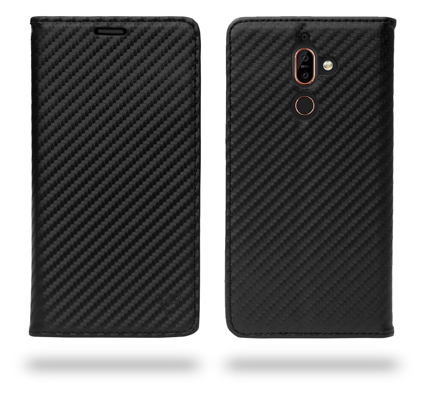 Ceego Compact Carbon Fiber Flip Cover for Nokia 7 Plus With Magnetic Lock (Super Black)