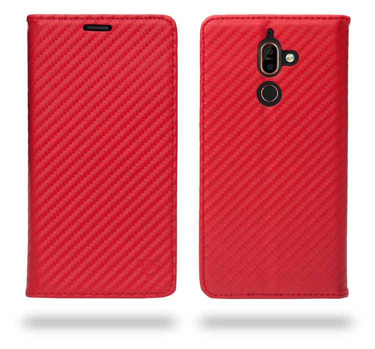 Ceego Compact Carbon Fiber Flip Cover for Nokia 7 Plus With Magnetic Lock (Scorching Red)