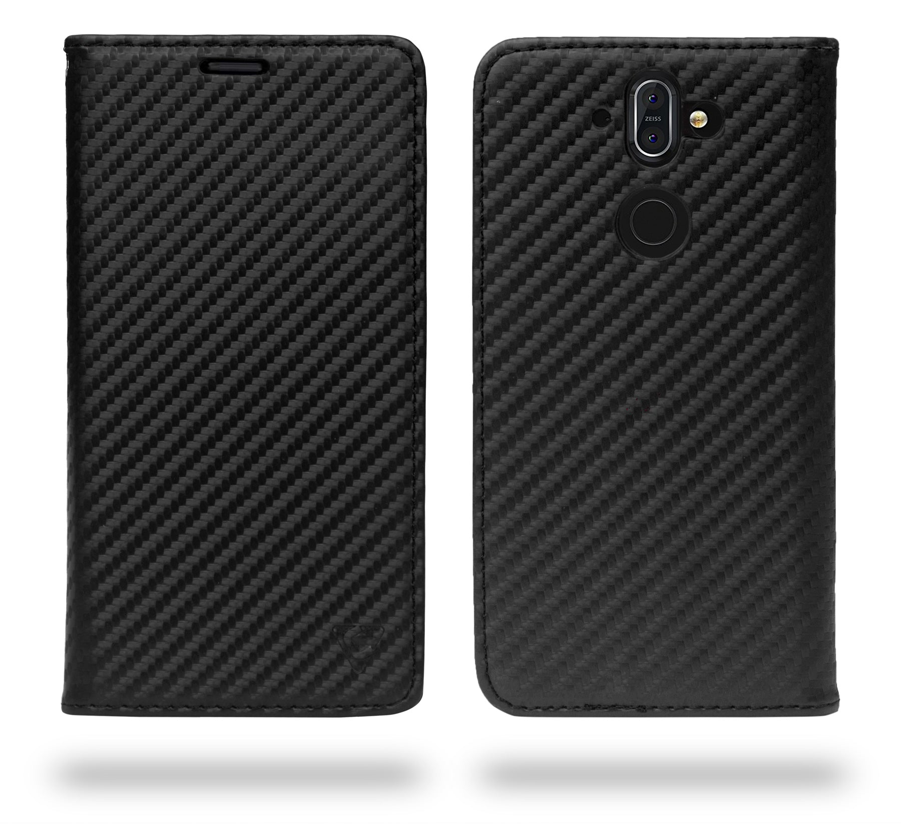 Ceego Compact Carbon Fiber Flip Cover for Nokia 8 Sirocco With Magnetic Lock (Super Black)