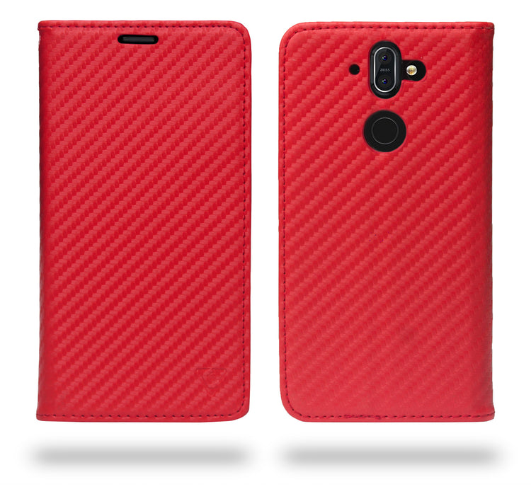 Ceego Compact Carbon Fiber Flip Cover for Nokia 8 Sirocco With Magnetic Lock (Scorching Red)