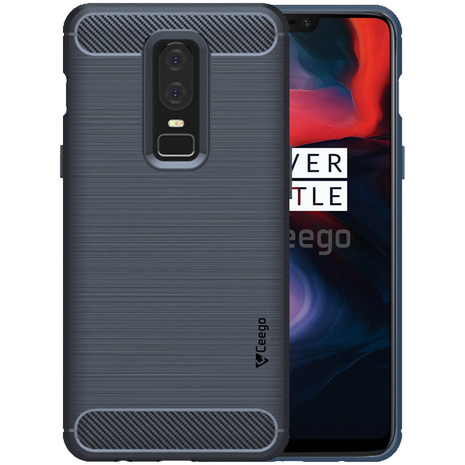 Ceego Carbon Fiber Shield Back Case for OnePlus 6  – Midnight Blue