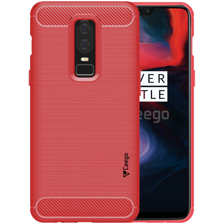 Ceego Carbon Fiber Shield Back Case for OnePlus 6  – Flaming Red