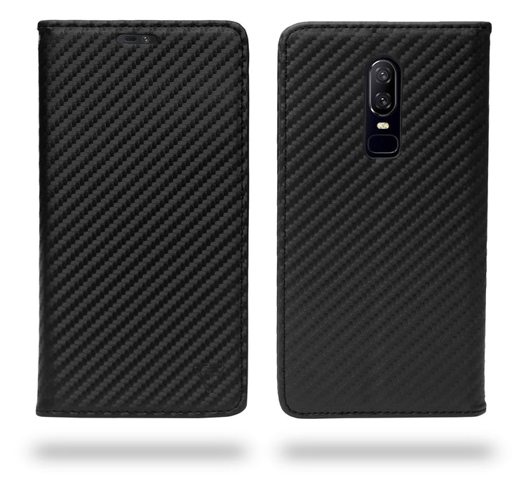 Ceego Compact Carbon Fiber Flip Cover for OnePlus 6 With Magnetic Lock (Super Black)
