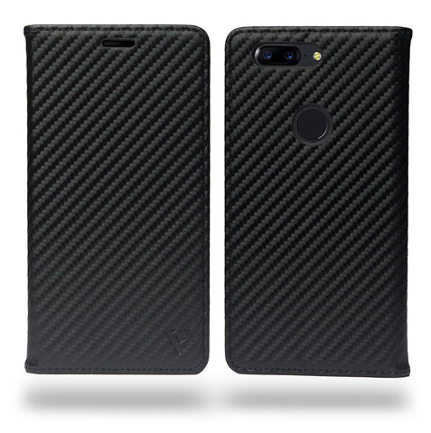 Ceego Compact Carbon Fiber Flip Cover for OnePlus 5T With Magnetic Lock