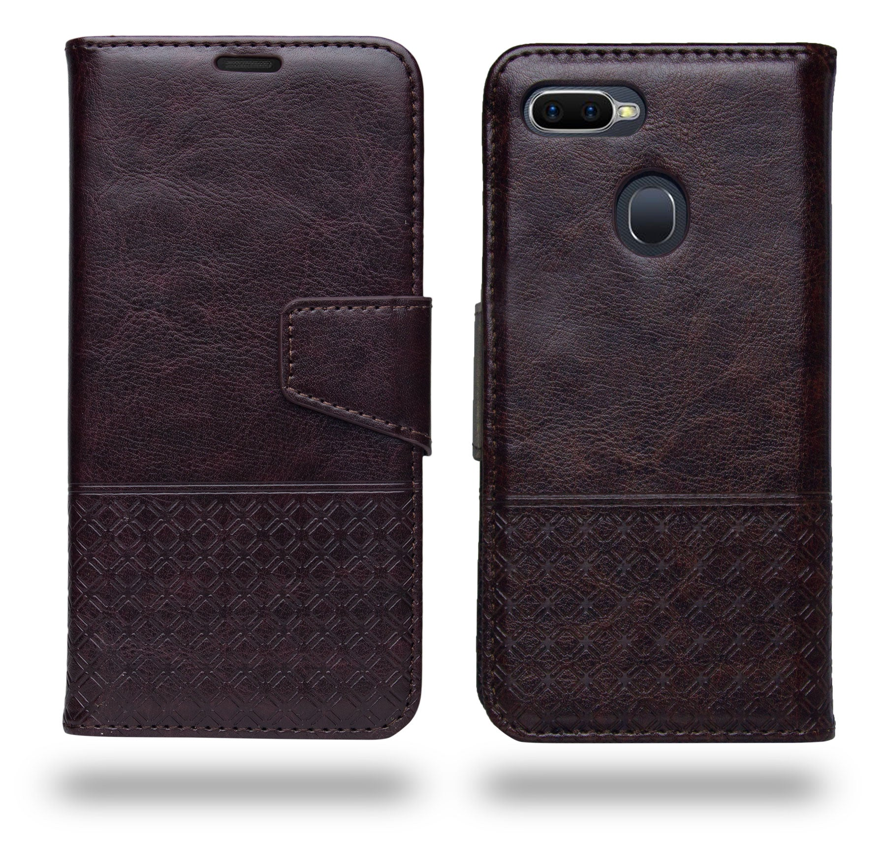Ceego Luxuria Compact Wallet Flip Cover for Realme 2 Pro (Chestnut Brown)