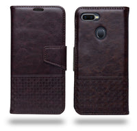 Ceego Luxuria Compact Wallet Flip Cover for Oppo F9 Pro / Oppo F9 (Chestnut Brown)