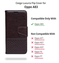 Ceego Luxuria Flip Cover for Oppo A83 - Chestnut Brown
