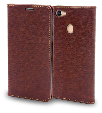 Ceego Magnetic Lock Flip Cover for Oppo F5 - Walnut Brown